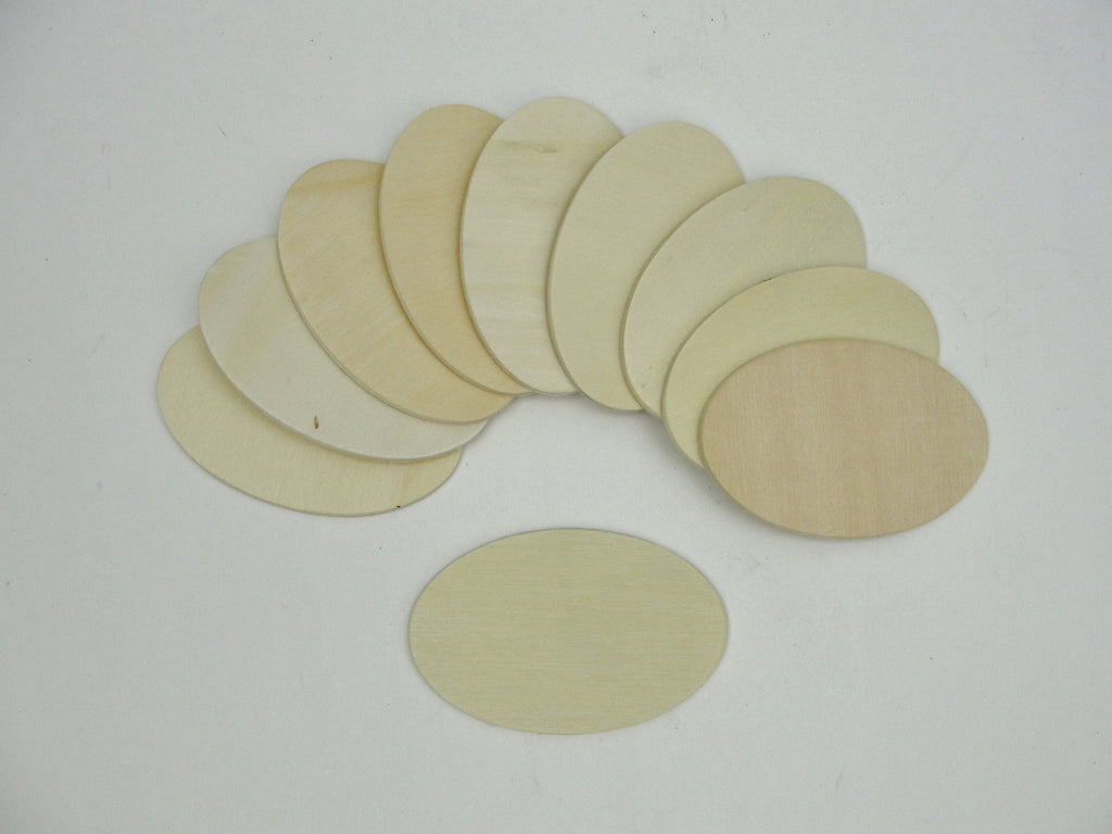 "Wood oval disc 2 3/4"" x 1 3/4"" set of 10 - Wood parts - Craft Supply House"