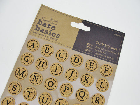 Cork alphabet stickers - Mixed Media Art Supplies - Craft Supply House