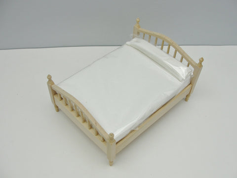 Dollhouse furniture miniature double bed with spindle headboard - Miniatures - Craft Supply House
