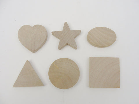 "Chunky wood shape set 2"" x 1/2"" heart, star, oval, triangle, circle, and square - Wood parts - Craft Supply House"