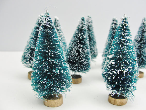 "Green sisal bottle brush trees (3"") set of 10 - General Crafts - Craft Supply House"