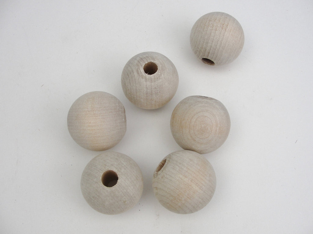 "Large wood bead 1 1/2"" (1.5"") 38mm wooden bead choose hole size set of 6"
