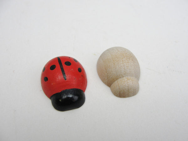 "Wooden lady bug choose between unfinished or painted red 1"" long set of 6"