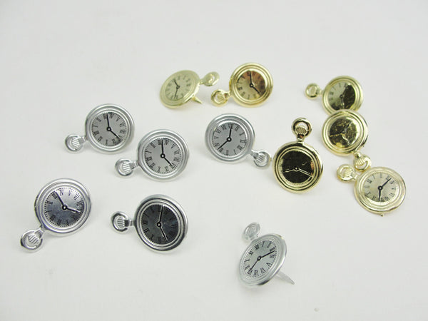 Steampunk theme brads paper fasteners choose pocket watch, gears, eye glasses
