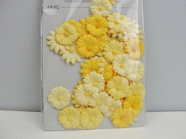 Fabric floral flower embellishments for cards or mixed media art