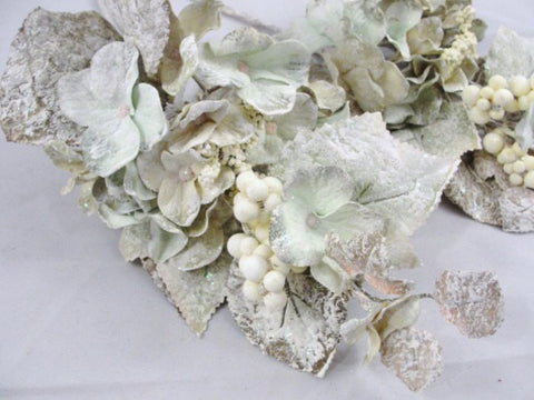 2 Creamy Green Frosted Hydrangea picks - Floral Supplies - Craft Supply House