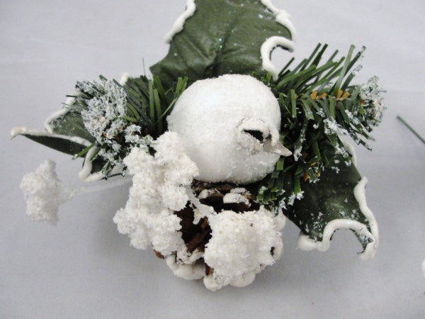 Snowy wreath picks, pomegranate and pinecone floral picks Set of 6 - Floral Supplies - Craft Supply House