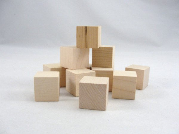 "Small wooden cube, One inch unfinished wooden cube,  1"" unfinished wooden blocks - Wood parts - Craft Supply House"