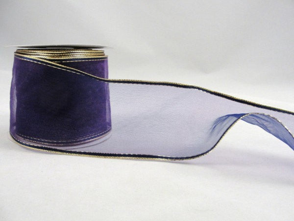 "Wire Edge Floral Ribbon Sheer purple 2.5"" wide - Floral Supplies - Craft Supply House"