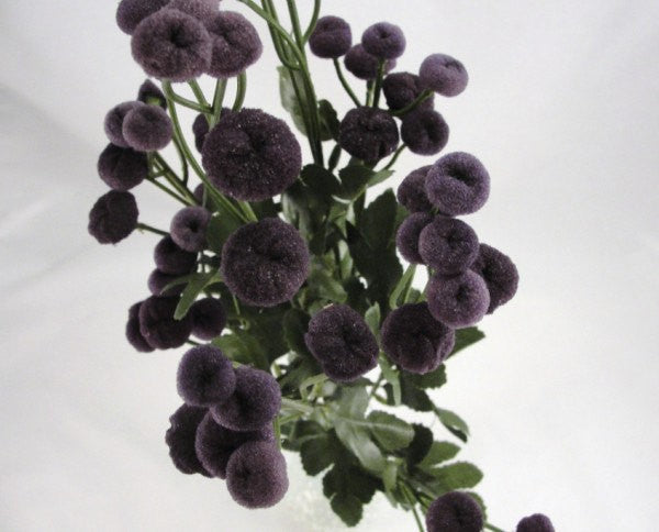 Dark purple button flower stem set of 2 - Floral Supplies - Craft Supply House