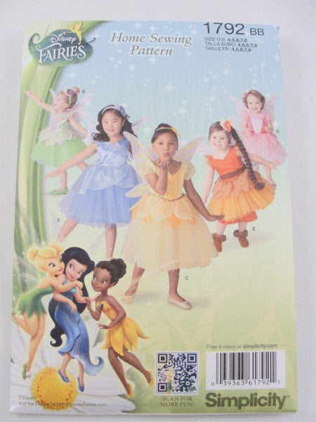 Disney Fairies Fairy Costume pattern Simplicity 1792 size 4-8