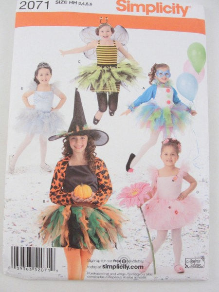 Ballerina bee clown witch tutu Costume pattern Simplicity 2071 size 3-6 - Patterns - Craft Supply House