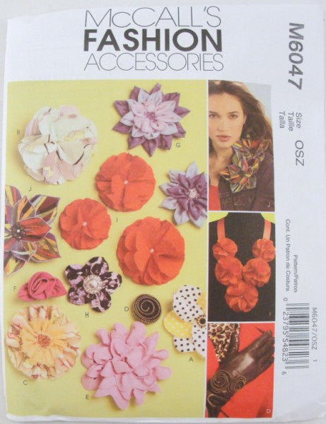 Fabric Flowers Pattern McCalls 6047 fashion accessory - Patterns - Craft Supply House