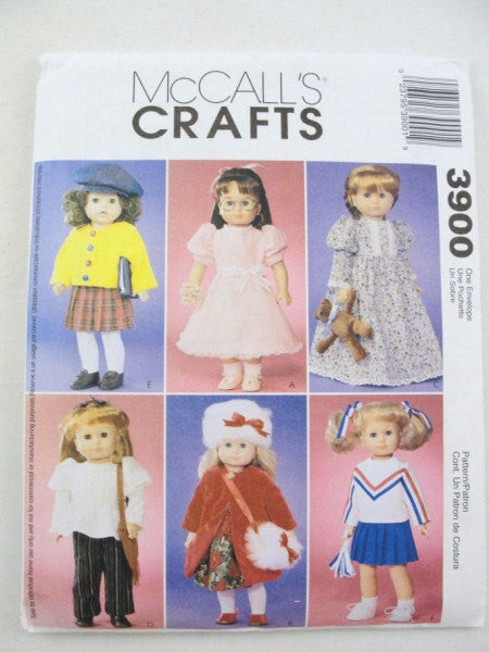 "McCalls 3900 18"" doll clothes pattern cheerleader, nightgown, cardigan, coat, dress, hat - Patterns - Craft Supply House"