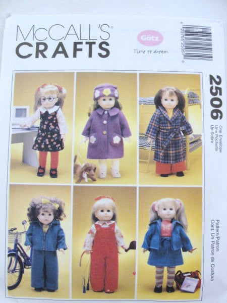 "McCalls 2506 18"" doll clothes pattern coat, robe, jacket, overalls, skirt, blouse, pants, jumper, hat - Patterns - Craft Supply House"