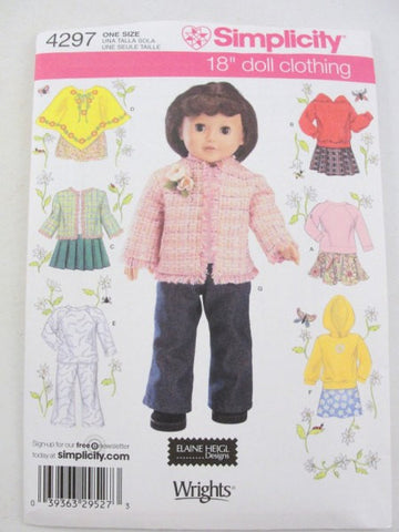 "Simplicity 4297 18"" doll clothes pattern sweatshirt, jacket, poncho, shirt, pants - Patterns - Craft Supply House"