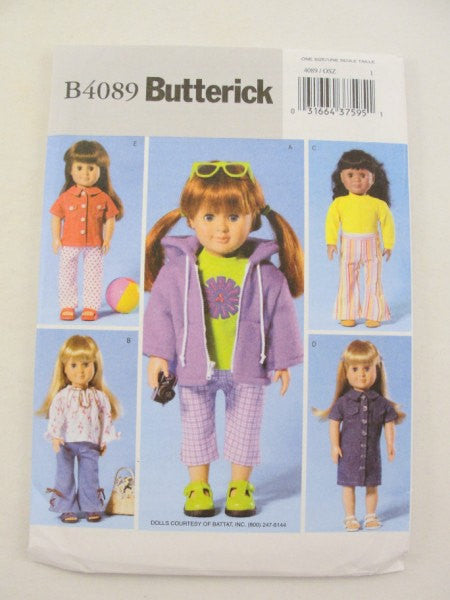 "18"" doll clothes pattern Butterick 4089 Capri Jacket Shirt Pants - Patterns - Craft Supply House"