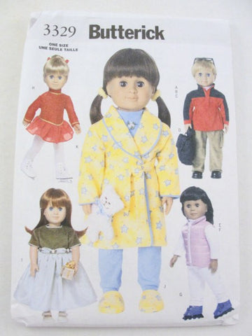 "18"" doll clothes pattern Butterick 3329 skater robe boy doll - Patterns - Craft Supply House"