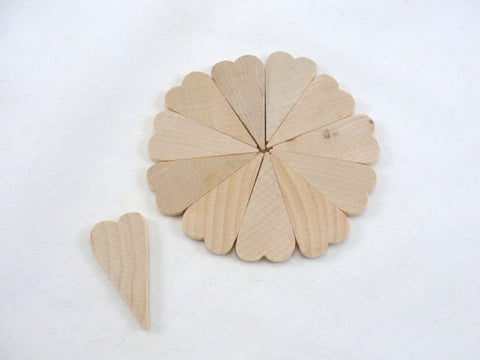 "12 Small primitive wood hearts 1 1/2 inch (1.5"") long 1/8"" thick DIY unfinished - Wood parts - Craft Supply House"