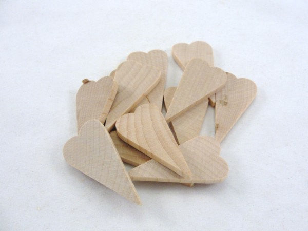 "12 Small primitive wooden heart 1 1/2 inch (1.5"") long 1/8"" thick DIY unfinished wood hearts - Wood parts - Craft Supply House"