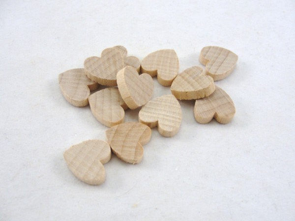 "12 Wooden hearts 1/2 inch wide (.5"") 1/8"" thick unfinished - Wood parts - Craft Supply House"