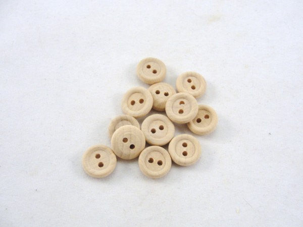 12 small Wooden buttons 1/2 inch unfinished DIY - Wood parts - Craft Supply House
