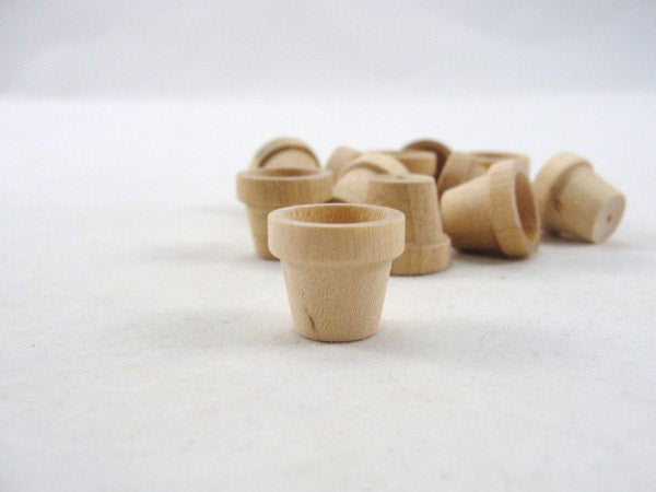 "Miniature wooden flower pot 5/8"" (1.59 cm) set of 12 - Wood parts - Craft Supply House"