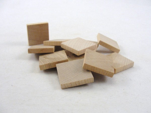 "Wooden square tile one inch 1"" x 3/16"" thick set of 12 - Wood parts - Craft Supply House"
