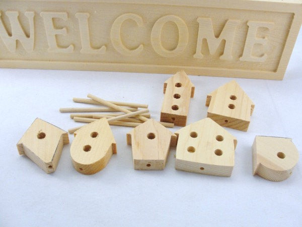 Welcome sign with birdhouses DIY unfinished - Wood parts - Craft Supply House