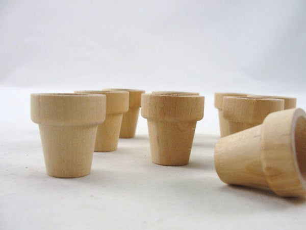 "Wooden flower pot 1 1/16"" (2.7 cm) set of 12 - Wood parts - Craft Supply House"