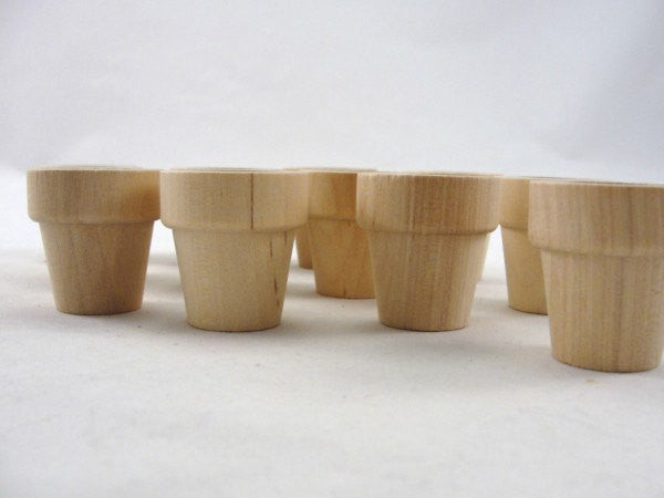 "Wooden flower pot 1 5/16"" (3.33 cm) set of 12 - Wood parts - Craft Supply House"