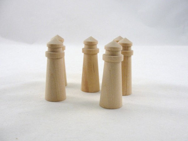 "6 Small wooden lighthouses 2 3/4"" tall - Wood parts - Craft Supply House"