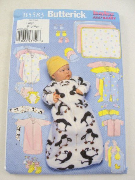 Infant bunting jumpsuit shirt diaper cover hat bib mittens botties blanket Butterick 5583 pattern LG-XLG