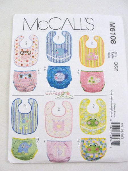 Baby bib pattern, diaper cover pattern McCalls 6108 - Patterns - Craft Supply House