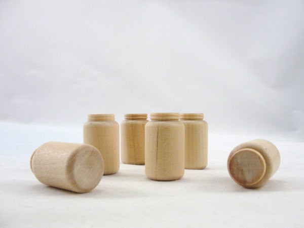 "Miniature wooden mason jar 1 1/4"" set of 6 - Wood parts - Craft Supply House"