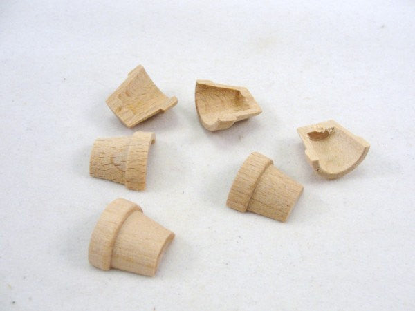 "Split wooden flower pot miniature 1 1/8"" tall set of 6 pieces - Wood parts - Craft Supply House"