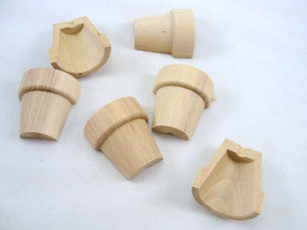 "Split wooden flower pot miniature 1 5/8"" tall set of 6 pieces - Wood parts - Craft Supply House"