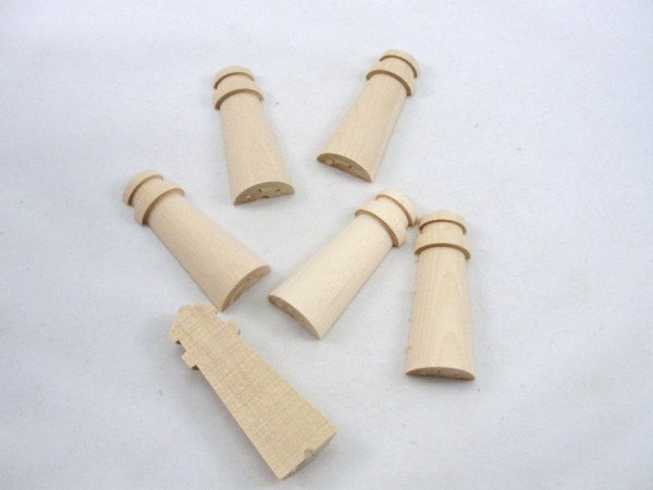 "Unfinished wooden lighthouse split 2 3/4"" tall set of 6 - Wood parts - Craft Supply House"