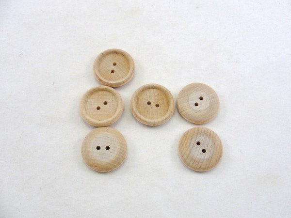 "Wooden button 1"" unfinished DIY set of 6"
