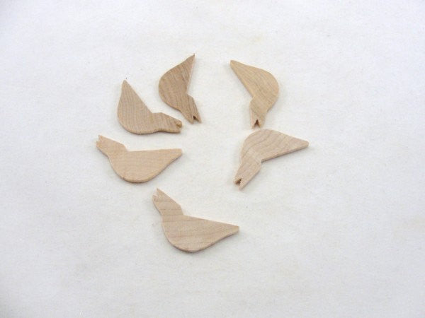"Small wood bird 1 3/4"" x 1/8"" unfinished set of 6 - Wood parts - Craft Supply House"