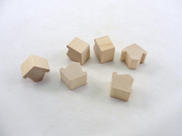 "Miniature chunky wooden birdhouse Chickadee house 3/4"" thick set of 6 - Wood parts - Craft Supply House"