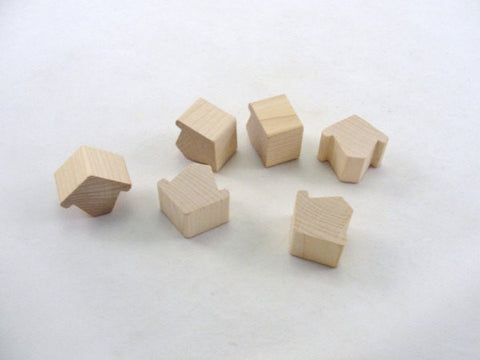 Miniature chunky wooden birdhouse Chickadee house set of 6 - Wood parts - Craft Supply House