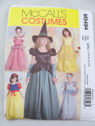 Costume pattern princess witch snow white McCalls 5494 size 7-14 - Patterns - Craft Supply House