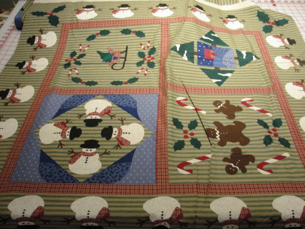 Snowman sampler fabric DIY wall quilt or tote bag - Fabric - Craft Supply House