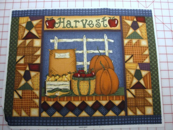 Fall harvest fabric for wall quilt or pillow