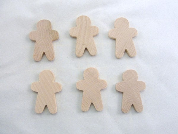 Wooden Gingerbread Boy, gingerbread man cutout, wood unfinished DIY set of 6