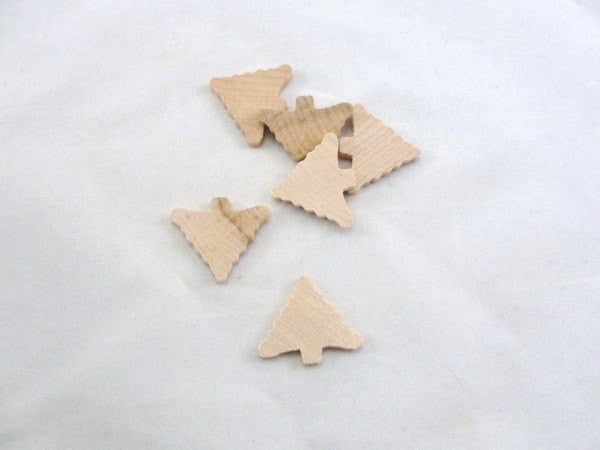 Stubby little Christmas tree cutout set of 6 - Wood parts - Craft Supply House