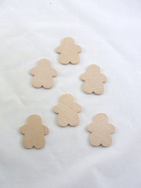 Gingerbread Boy Man wood unfinished DIY set of 6 largest of 3 sizes - Wood parts - Craft Supply House