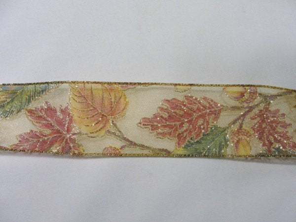 Sheer fall leaves Wire Edge Ribbon with acorns and sparkles - Floral Supplies - Craft Supply House