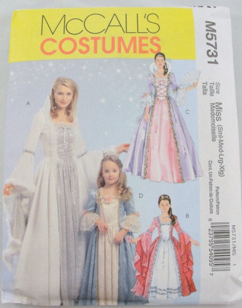 Princess Adult Costume pattern McCalls 5731 size Sm - XLg - Patterns - Craft Supply House